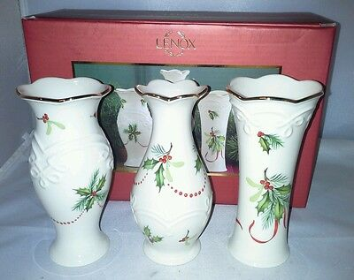 Lenox Set of 3 Mistletoe and Holly Bud Vases NIB Holiday Trimmed With Gold