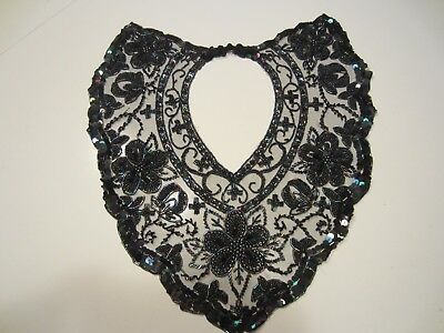 Antique Victorian Gothic Choker Cleavage Collar Iridescent bead needle lace