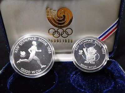 INV #Th30 South Korea 1988 Silver Olympic Silver 5k & 10k Won Proof w/ COA