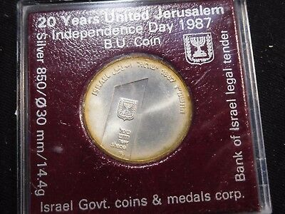 INV #Th72 Israel 1987 Silver Independence Day Jerusalem 2 Sheqalim BU
