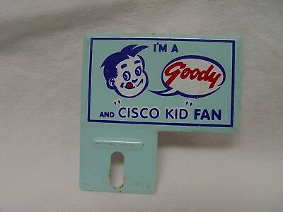 Goody Soda & Cisco Kid TV Show Vintage Advertising Bicycle License Plate Topper