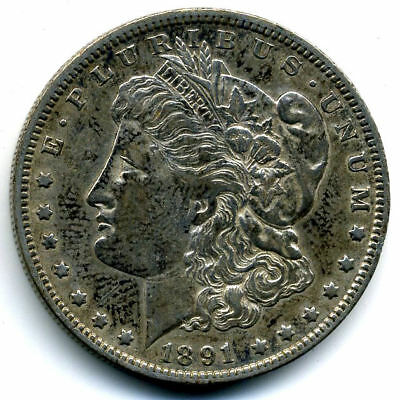 RARE 1891 O AU Morgan Silver Dollar About Uncirculated Coin LOW MINTAGE U.S#3528
