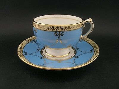 Grosvenor Vintage English Blue Gold China Demitasse Cup & Saucer c1930s 4529