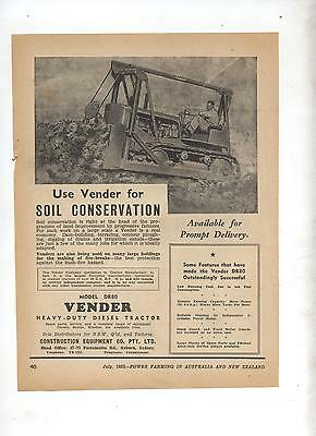 Vender Diesel DR80 Tractor Advertisement removed from 1952 Farming Magazine