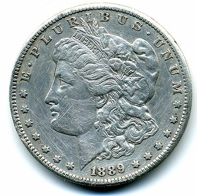 1889 S AU$1 CLEANED Morgan Silver Dollar Ke y Date ABOUT UNCIRCULATED  Coin#3393