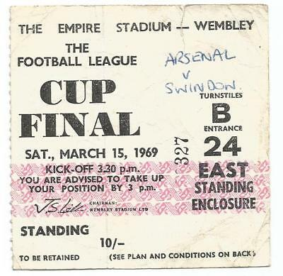 Ticket Football League Cup Final 1969 Arsenal v Swindon
