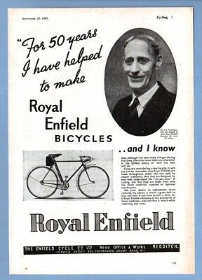 ROYAL ENFIELD BICYCLES - Redditch  (1947 Advertisement)