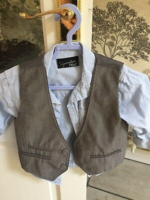 boys 3 piece suit Next Signature Light  Grey And Pale  Blue 1.5-2 Years