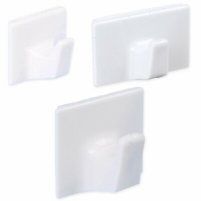 SMALL - LARGE SELF ADHESIVE HOOKS Strong White Sticky Wall Door Stick On Hangers