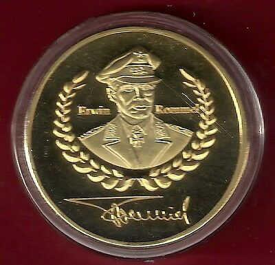 1 Oz  Gold Plated Coin  **  Field Marshall Erwin Rommel ( 1891 - 1944 ) in a cap