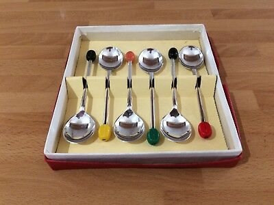 vintage silver plated set of six multi colour tips coffee bean spoons