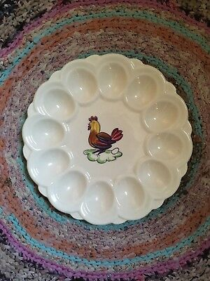 Excellent Vivid Antique Blue Ridge Egg Plate Rooster Chicken Perfect ~Stamped