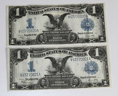 (2) Consecutively Numbered Crisp Series 1899  Large $1 Dollar Black Eagle Notes
