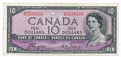 1954 CANADA 10 DOLLARS NOTE 'DEVIL'S FACE' - p69a