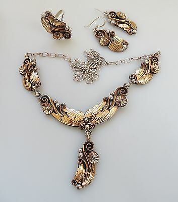 Native Am necklace & earrings & ring Gold over sterling silver dangle Navajo