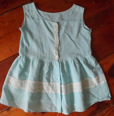 Vintage Girl's blue white check dress toddler lace sleeveless button front 50's