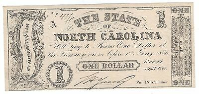 Confederate North Carolina $1 note, 1862   CU  Rare variety - no printer name