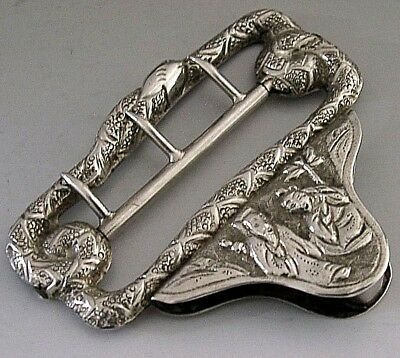 BEAUTIFUL CHINESE EXPORT SILVER BELT BUCKLE c1900 ANTIQUE
