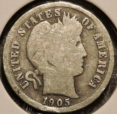 Barber Dime - 1905-S - Historic Silver! - $1 Unlimited Shipping