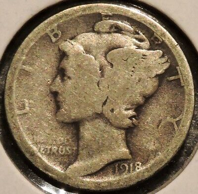 Silver Mercury Dime - 1918-D - Early Dates! - $1 Unlimited Shipping