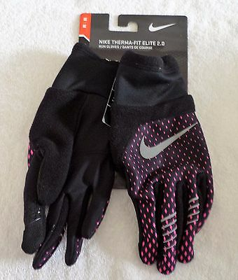 Women's Size Sm, Med Or Lg  Nike Therma-Fit Elite 2.0 Run Gloves Black/pink Nwt