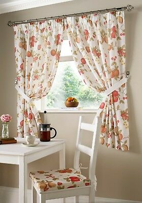 """Orchard Printed Kitchen Curtains,46"""" x 54"""" Free Tie-backs , Reduced"""