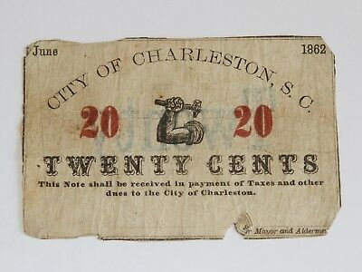 1862 Confederate City of Charleston, S.C. Signed 20C Twenty Cent Note