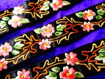 An Exquiiste Antique Hand Embroidered Pink Silk Flowers On Black Silk