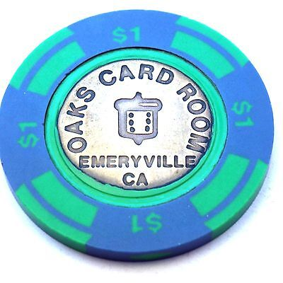 Vintage OAKS CARD ROOM Casino Poker $1 chip Emeryville, CA California Brass Core