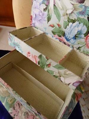 A Beautiful Vintage/Antique French Fabric Covered Sewing ~Trinket 2 Tier