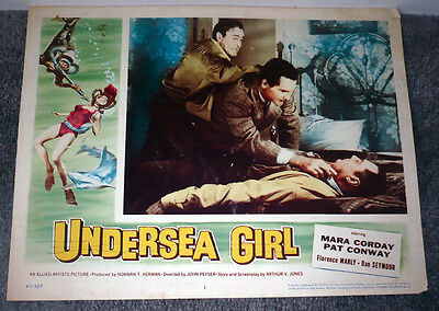 UNDERSEA GIRL original 1957 lobby card movie poster MYRON HEALEY/SCUBA DIVING