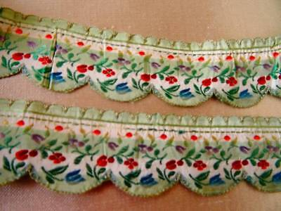 Two Beautiful Lengths Antique French Lyon Silk Scalloped Floral Brocade Ribbon