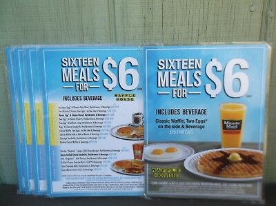6 (six) Waffle House Laminated $6 Place Card / Menu Great for Retro Kitchen