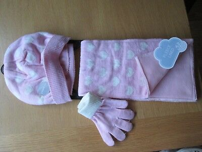 Girls Hat Scarf & Mittens Set Pink Hearts Fleece Lined Age 8-9-10-11-12 Yrs New