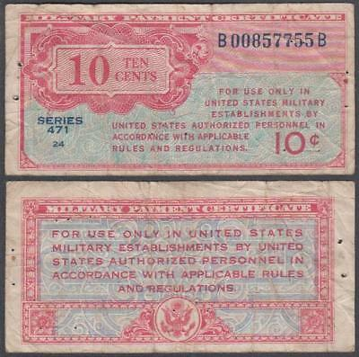 1947 series 471 Military Payment Certificate 10 Cents