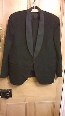 "Vintage/Retro Dunn & Co. Black Worsted Dinner Suit with Silk Lapels 40"" W36"