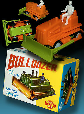 BULLDOZER WITH DRIVER | FRICTION POWERED WOOLBRO HONG KONG 70s OVP BOX