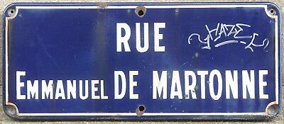 Old French enamel street sign road plaque name rue Emmanuel de Martonne Castres