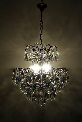 Antique Spider Style Cast Brass & Handcut Crystals Chandelier from 1950's