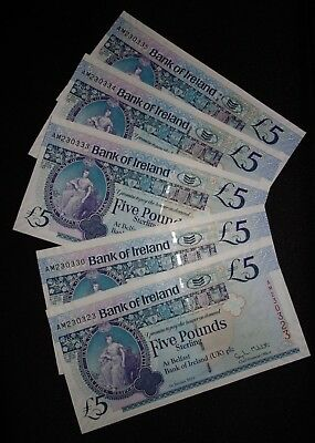 2013 Bank Of Ireland £5 Belfast --->> UNC/MINT <<--- (5)