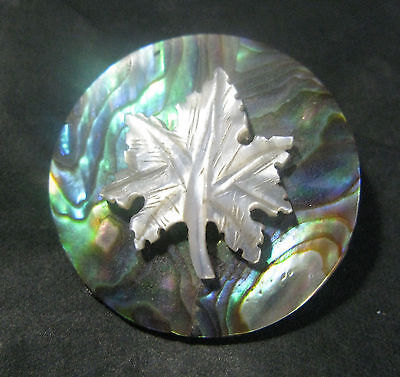 Pretty Large Victorian Abalone & Mother Of Pearl Button. 2.6 Cms Diam