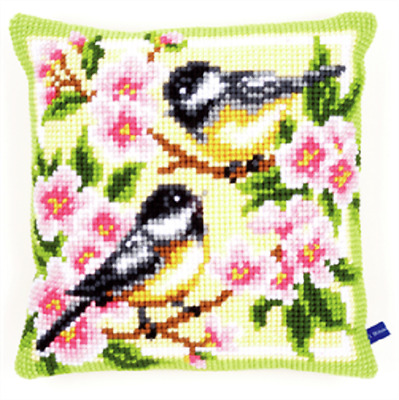 Birds & Blossoms  Large Holed Printed Tapestry Canvas Cushion Kit -Cross Stitch