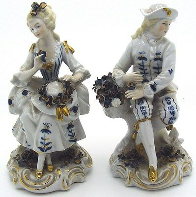 GERMAN SITZENDORF PORCELAIN - Two 20th Century Figurines - c1918 - RESTORATION