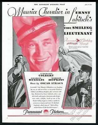 1931 Maurice Chevalier photo The Smiling Lieutenant movie release print ad