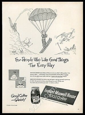1948 Frank Tashlin skier and parachute art Maxwell House coffee vintage print ad