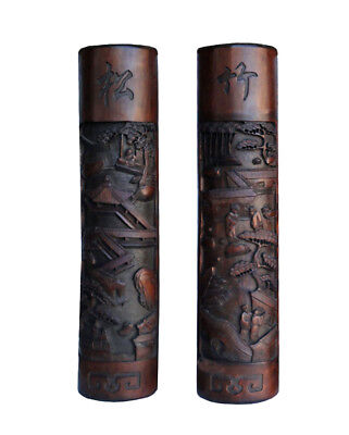 Pair Hand Carved Chinese Thick Bamboo Calligraphy Landscape Panel n327