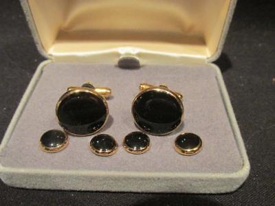Peoples Jewelers Retro Men's Jewelry Set Display Case Black Cufflinks & Buttons