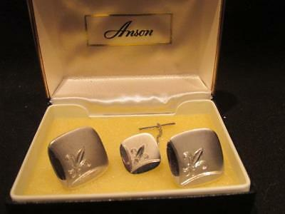 Anson Retro Set Men's Fashion Jewelry Fleur De Lis Cuff Links & Tie Tack with Bo