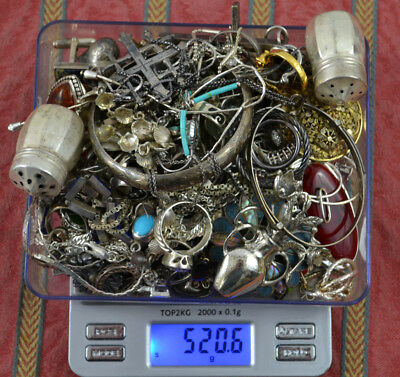 520.6 Grams Sterling Silver .925 - Scrap and Wearable Lot A