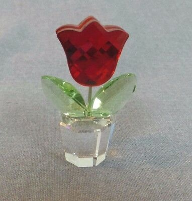 Swarovski Crystal Red Tulip Figurine, A 9460 NR 200 003, In Box with Certificate